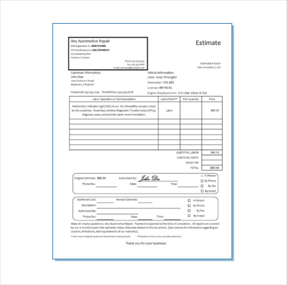 Do you have a written estimate dent transformer for Doc motor works auto repair